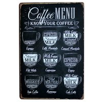 [ Mike86 ] CAFE MENU KNOW YOUR COFFEE TIN SIGN Old Wall Meta...