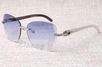 I fornitori che vendono gli occhiali da sole di diamanti senza cornice T8100905 occhiali da sole di moda di alta qualità corna mescolati occhiali Dimensione: 58-18-140 mm