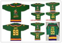 مخيط خمر Anaheim Mighty Ducks فيلم 33 Greg Goldberg 44 Fulton Reed 99 آدم بانكس 21 دين بورتمان 66 بومباي 9 كاريا بالقميص الأخضر