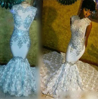 Gorgeous Mermaid Prom Dresses With Silver Lace Appliques Cry...