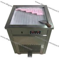 Kostenloser Versand Edelstahl 110 v 220 v Elektrische 50 cm Thai Einzel Platz Fry Pan Eis Gerollten Joghurt Maker Gebratene Eiscreme-rolle Maschine