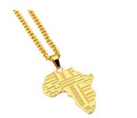 Trendy Gold Überzogene Afrika Karte Anhänger Halskette Mit 75 cm Kubanischen Kette Hip Hop Schmuck Männer Frauen Bijouterie Mit Geschenkbox