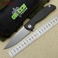 グリーンとげ新しいM390 F95 HTIチタン+ CFハンドルフリッパー折りたたみナイフ屋外キャンプEDCツール狩猟ハイキングポケットナイフ
