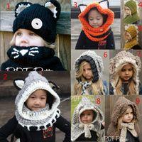 Kız bebekler Sıcak Kış Tavşan Şal Çocuk Çocuk Sevimli Eşarp Kulak Fox Kapşonlu Örme Püskül Tığ Cap