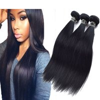 3PCS Jet Black Brazilian Straight Hair Extensions Top Grade ...