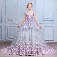 País Romântico Bola Vestidos Vestido de casamento Vintage 2021 Cap Jewel Neck Sleeve Lace cinza e rosa Flores Vestidos de casamento 100% Same