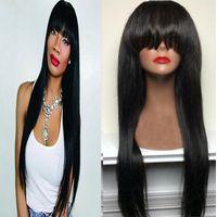 Ipeksi düz peruk simülasyon insan saçı peruk ipeksi düz doğal renk peruk patlama ile siyah kadınlar için stokta