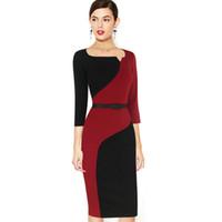 LCW 새로운 디자인 여자 사무실 연필 칼집 드레스를 해결하려면 우아한 빈티지 대비 Colorblock 슬림 벨티드 패치 워크 캐주얼