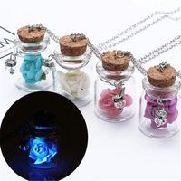 Collar de color plata brillante botella que desean la joyería de cristal de cristal colgantes de los collares de flores Accesorios luminosa gema colgante para las mujeres de Navidad