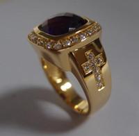 الرجل 12 ملليمتر * 12 ملليمتر الجمشت الطبيعي الأحجار الكريمة مع 925 الفضة الاسترليني مطلي الذهب الأصفر للرجال حلقات الأسقف اثنين الصليب الدائري