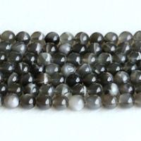 """Véritable véritable noir Moonstone flash lumière ronde perles en vrac pierres précieuses en vrac 6mm 8mm 10mm 12mm 15 """"05146"""