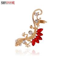 RINGE Kristall Strass Ohr Manschette Ohrringe Luxus Gold Farbe Tier Gecko Lizard Clips Ohrringe für Frauen Modeschmuck