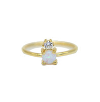 US size 6- 8 18k yellow gold plated with white fire opal cz s...