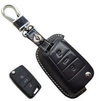 CarLeather Key Case Bag Fob Cover for Volkswagen VW Golf 7 MK7 GTI Skoda Octavia A7 A 7 2014 2014 2016 مقعد ليون ايبيزا