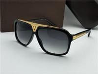 Clássico Evidence Millionaire Sunglasses fumaça preta do ouro do vintage Sunglass Homens Shades occhiali da sole nova com caixa