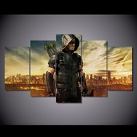 5 Pz / set Incorniciato HD Stampato Freccia Verde Man TV Picture Wall Art Canvas Print Room Decor Poster Su Tela Pittura Cuadros