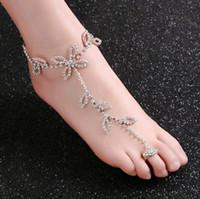 Moda sposa strass piede catena caviglia punta d'argento charms foglia trifoglio disegni gioielli per il corpo per la spiaggia di nozze all'ingrosso