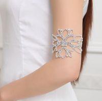 Moda Rhinestone Kristal Kol Bilezik Büyük Çiçek Çiçek Gelin Ayak Bileği Bilezik Bilezik El Zincir Takı Aksesuar