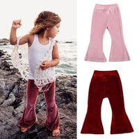 Abbigliamento per bambini Abbigliamento per neonati Pantaloni Leggings Primavera Autunno Abbigliamento per bambini Pleuche Solid Bell-Pantaloni Bell-Bottom Pantaloni Casual Kids Pantaloni flare 2 colori
