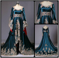 Vintage Dubai Style Dress Evening Wear maniche poeta lungo abito formale abito scollo a V blu scuro Prom Dress Appliques in rilievo prezzo a buon mercato