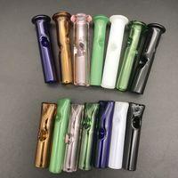Miniglasfilter Tipps für Blättchen mit Zigarettenspitze Thick Pyrex Bunte Glasrauchpfeifen runder flache Mundglasfilterspitzen