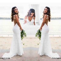 Katie May Mermaid Beach Lace Wedding Dresses 2017 Modest Fas...