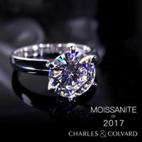 ForeverBeauty 18K Gold Classical Moissanite Diamante sintetico Diamante anello per amanti Anello nuziale 1CT