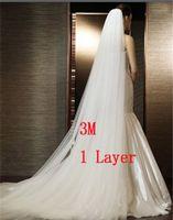 3M элегантная белая / слоновая слоновая слоновая слоя простой завесы длинные свадебные вуаль свадебные аксессуары Бесплатная доставка с расческой