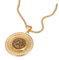 Gold Chains for Mens Hip Hop Jewelry Men Stainless Steel Round Coin Freemason Signet Past Master Masonic AG Emblem Pendant Necklace Jewelry