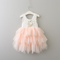 2017 Baby Girls Lace tutu Dresses Kids Girls Sequins Flower ...