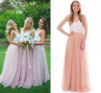 두 조각 긴 신부 들러리 드레스 spaghetti 실크 새틴 얇은 명주 그물 층 길이 화이트 핑크 나라 들러리 가운 해변 웨딩 파티 드레스
