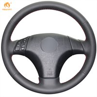 Mewant Black Genuine Leather Car Steering Wheel Cover for Ma...