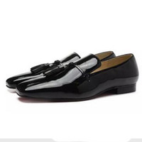 New Fashion Mens Black Patent Leather With Tassel Flat Busin...