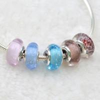 Edell 100% 925 Sterling Silver Pandora Bracciali Murano Charm Bead 925 Silver Flower perle di vetro Diy inverno natale Belle monili che fanno