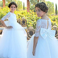 White Ball Gown Flower Girl Dresses For Wedding With Bow On ...