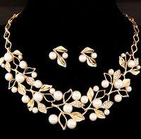 Серебро золото Цвет Кристалл Свадебные украшения наборы листьев Форма Choker ожерелье серьги Свадебные ювелирные изделия для женщин обручальные жемчужные аксессуары