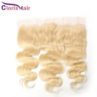 Rubia 13x4 Lace Frontal Oreja a Oreja Raw Virgin Indio Humano Pelo Humano Cierres 613 Platinum Blonde Body Wave Frontals Full Fully With Baby Hair