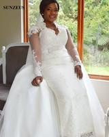 Guaina pizzo abiti da sposa con gonna staccabile elegante maniche lunghe lunghezza del pavimento lunghi abiti da sposa con applicazioni