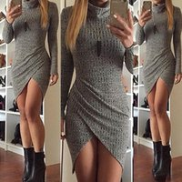 JessicaCHE 2018 New Gray Split Mini Skirt Bandage Dress Skir...