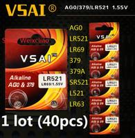 40 stücke 1 los AG0 LR521 LR69 379 379A SR521 L521 LR63 1,55 V Alkaline Knopfzelle münzbatterien Karte VSAI Kostenloser versand