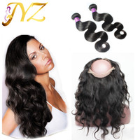 Peruvian virgin hair with frontal 360 lace frontal with bund...