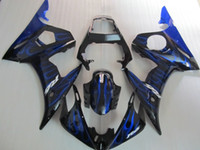 Hochwertiges Verkleidungsset für Yamaha YZF R6 03 04 05 Blue Flames Black Fostings Set YZF R6 2003 2004 2005 OT22