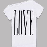 Vente en gros- 2016 Nouvelle Mode Femmes T-shirts Filles Eté Décontracté LOVE Lettre Tee T Shirt Tops Vêtements Femme