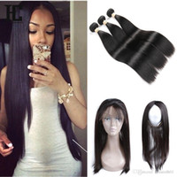 8A Hair Brazilian Virgin Hair Pre Plucked 360 Frontal with B...