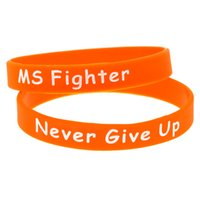 1PC Debossed MS Fighter Never Give Up Silicone Wristband Per...