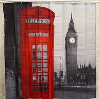 Atacado- Criativo impermeável 3D Londres Big Ben Curtain Curtain Bathroom Product Polyester Telefone Cabine padrão com 12 ganchos de banho de banho
