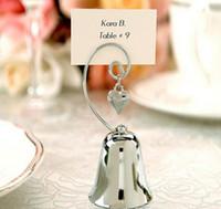 12pcs Argent Cloche Coeur Nom Numéro Menu Table Lieu Lieu Titulaire De La Carte Clip De Mariage Baby Shower Party Reception Favor