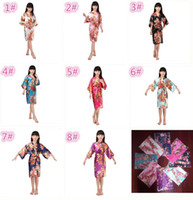 8 colors kids rose flower silk Robe girl children Satin Paja...