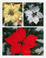 300 sztuk 22 cm dla świątecznych dekoracji sztuczne kwiaty jedwabne kwiaty Boże Narodzenie poinsecja kwiat głowy czerwony / złoty / srebrny multicolor cf05