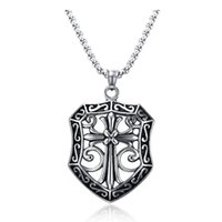 Vintage Stainless Steel Necklace Mens flower cross Pendant L...